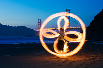 Kevlar - Fire poi on a beach in San Francisco