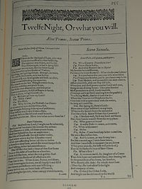 Faksimil av första sidan i Twelfth Night, Or what you will från First Folio, publicerad 1623