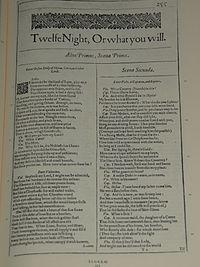 Faksimiler af første side i Twelfth Night, Mide What You will fra First Folio, publiceret i 1623