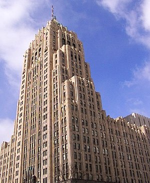 Media in Detroit - The Fisher Building, a National Historic site in the City's New Center area, is home to the Fisher Theatre, with the WJR radio antenna