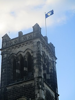 Flag of Yorkshire flying from St James' Church, Wetherby on Yorkshire Day 2020 (1st August 2020) 001