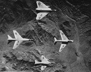 United States Navy Strike Fighter Tactics Instructor program - U.S. Navy Fleet Air Gunnery Unit aircraft from Naval Air Facility El Centro in the late 1950s