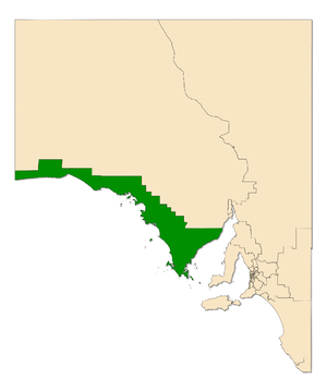 Electoral district of Flinders - Electoral district of Flinders (green) in South Australia