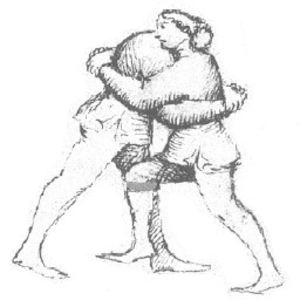 Overhook - In this clinch, the wrestler on the right has an overhook, that on the left an underhook.