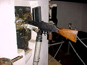 FM 24/29 light machine gun - Model 1924/1929D mounted in a firing port of the Maginot Line.