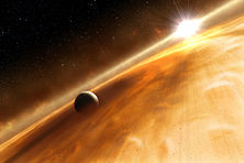A gas giant exoplanet orbiting within a sea of golden-yellow colors, which is an asteroid belt in the Fomalhaut star system.
