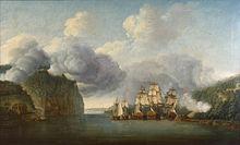 Varende schepen op de Hudson River van ver, de scène benadrukt de twee hoge kliffen die aan weerszijden van de Hudson Narrows uitkijken.