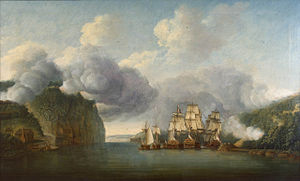Battle of Fort Washington - British warships trying to pass between Forts Washington and Lee