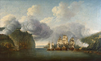 HMS Roebuck (1774) - Image: Forcing a Passage of the Hudson