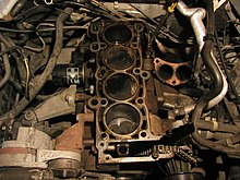 Ford inline-four engine with cylinder head removed