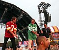 Former NFL quarterbacks Joe Theismann of the Washington Redskins and Joe Namath of the New York Jets clown around on stage before the opening of the NFL Kickoff 2003 celebration Sept. 4 on the National Mall.jpg