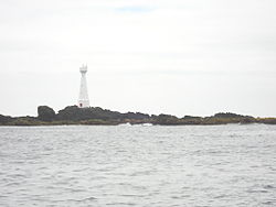 The lighthouse on Formigão, the largest islet of the Formigas
