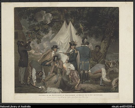 Founding of the settlement of Port Jackson at Botany Bay in New South Wales in 1788 - Thomas Gosse Founding of the settlement of Port Jackson at Botany Bay in New South Wales in 1788 - Thomas Gosse.jpg