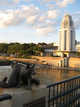 none Downtown St. Charles, with the Fox River and the Municipal Center/City Hall (the white Art Moderne building, built 1940)