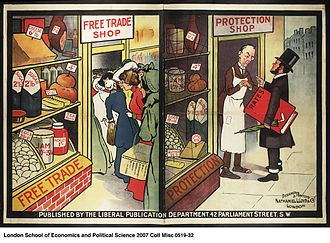 Protectionism - Political poster from the Liberal Party displaying their views on the differences between an economy based on Free Trade and Protectionism. The Free Trade shop is shown as full to the brim with customers due to its low prices. The shop based upon Protectionism is shown as suffering from high prices and a lack of customers, with animosity between the business owner and the regulator.