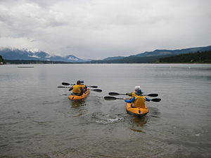 Adventure racing - Team Wild Rose setting out on the paddling section at Full Moon in June, 2009, Panorama Mountain Village.