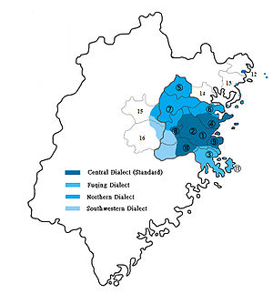 Fuzhou dialect - Image: Fuzhou language map