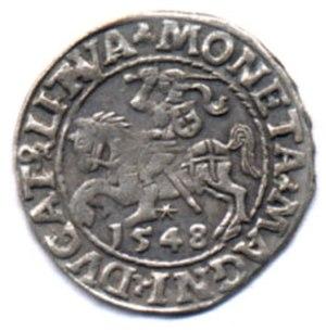 Polish złoty - Półgrosz obverse, 1548