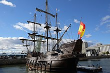 The El Galeon, a 17th-century Spanish galleon replica in Quebec City in 2016.