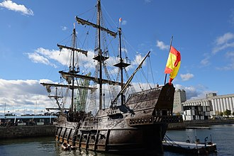 Galleon - The El Galeon, a 17th century Spanish galleon replica in Quebec City in 2016.