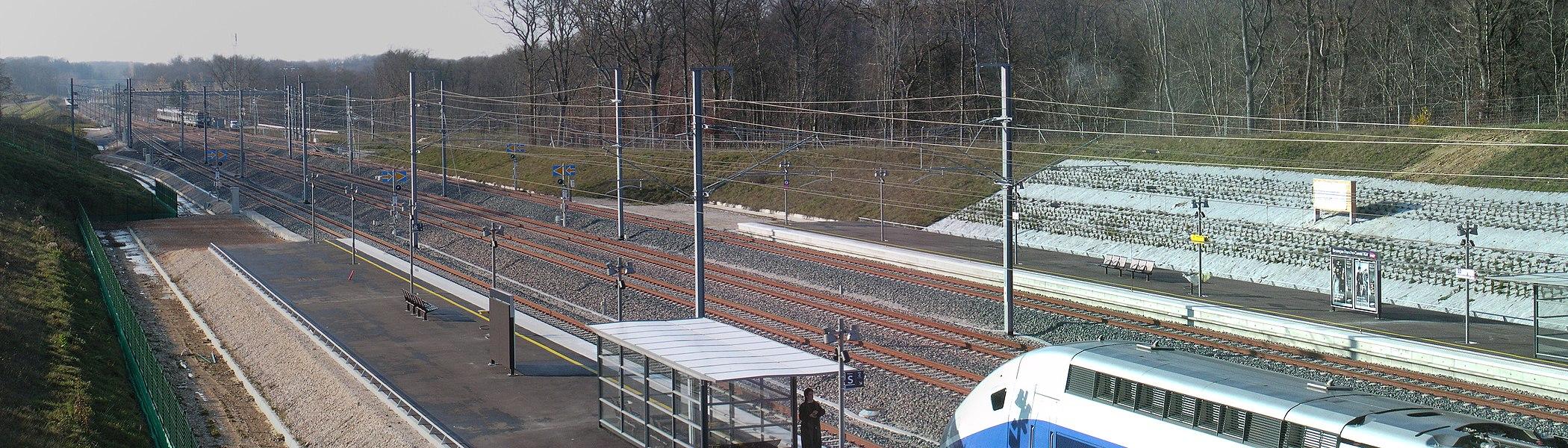 LGV Rhin-Rhône high-speed railway line toward Dijon, seen from the Besançon Franche-Comté TGV railway station during station's inaugural.