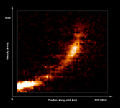 Gas cloud being ripped apart by the black hole at the centre of the Milky Way (annotated).jpg