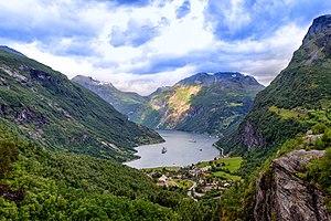 Das Ostende des Geirangerfjords in der Übersicht, Juli 2010