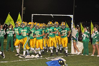 """Geneseo, Illinois - Geneseo v Ottawa September 30, 2011. The """"Green Machine"""" has won 4 state championships and 6 state runner-up finishes."""