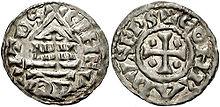 Un denario d'argento (inizio dell'XI secolo).