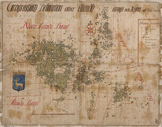 Åland Islands - Swedish Map of Åland from before 1667 with shipping lanes, harbors, churches and various boundaries marked