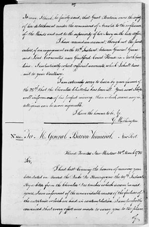 Battle of Guilford Court House - Letter from George Washington to the Comte de Rochambeau (31 March 1781), in which Washington reports he is hearing first reports from the Battle of Guilford Court House