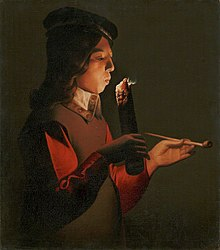 An oil painting of a young man smoking, in the chiaroscuro style