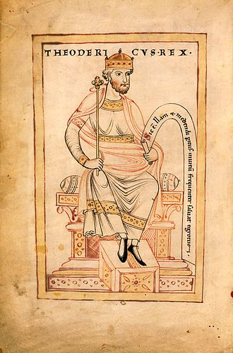 King - 12th-century depiction of Theodoric the Great, King of the Ostrogoths.