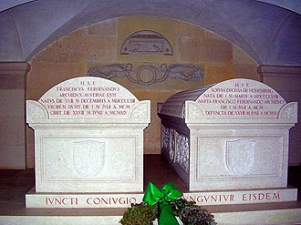Artstetten Castle - Sarcophagus of Franz Ferdinand, with his wife's sarcophagus on the right