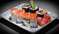 Grandma's birthday - sushi on rectangular plate.jpg