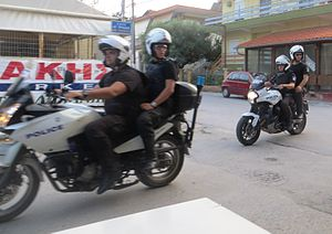 Crime in Greece - Greek Police on motorcycles.