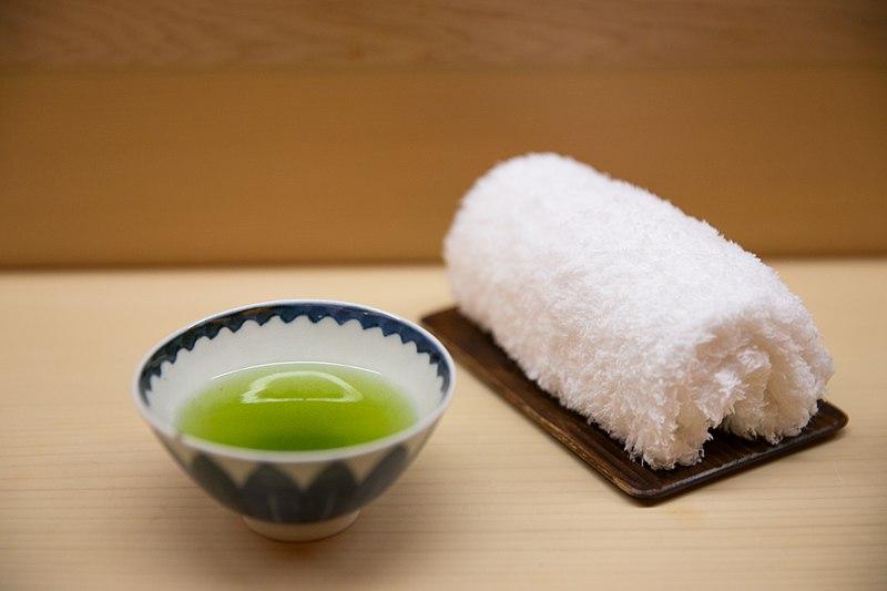File:Green tea and a hot, moist Imabari towel (19323738255).jpg