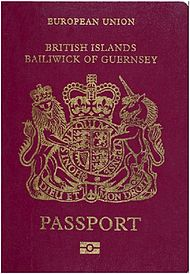 The front cover of a contemporary Guernsey biometric passport.