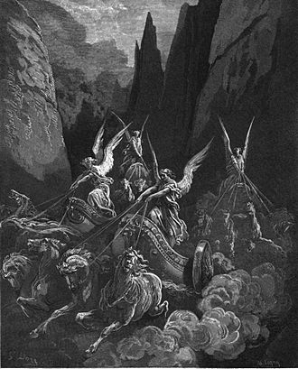 Book of Zechariah - Zechariah's vision of the Four Horsemen of the Apocalypse, engraving by Gustave Doré.
