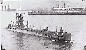 HMS C37 - C37 in Valletta Harbour, Malta, circa. 1916