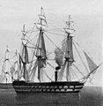 HMS Majestic (ship, 1853) Oswald Walters Brierly & R. Carrick - The Fleet becalmed (cropped).jpg