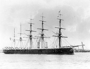 Channel Fleet - British ironclad HMS ''Minotaur'' as Channel Fleet flagship, c. 1875-1887.