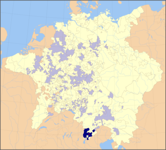 Bishopric of Trent - Bishopric of Trent within the Holy Roman Empire in 1648; Ecclesiastical lands shaded in pale blue