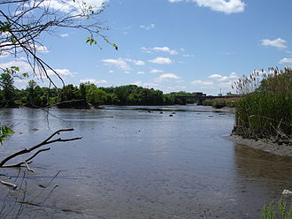 Hackensack River - A view of the Hackensack River taken from the shore in Teaneck at low tide