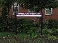 Hamilton Wenham station sign, June 2012.JPG