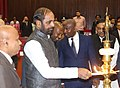 Hansraj Gangaram Ahir lighting the lamp at the inauguration of the High Level Meeting of Interior Ministers of the Indian Ocean Region to counter Drug Trafficking, in Colombo, Sri Lanka.jpg