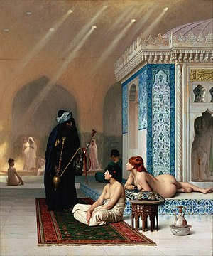 Orient - Harem Pool by the Orientalist painter Jean-Léon Gérôme c. 1876; naked females in harem or bathing settings are a staple of much Orientalist painting