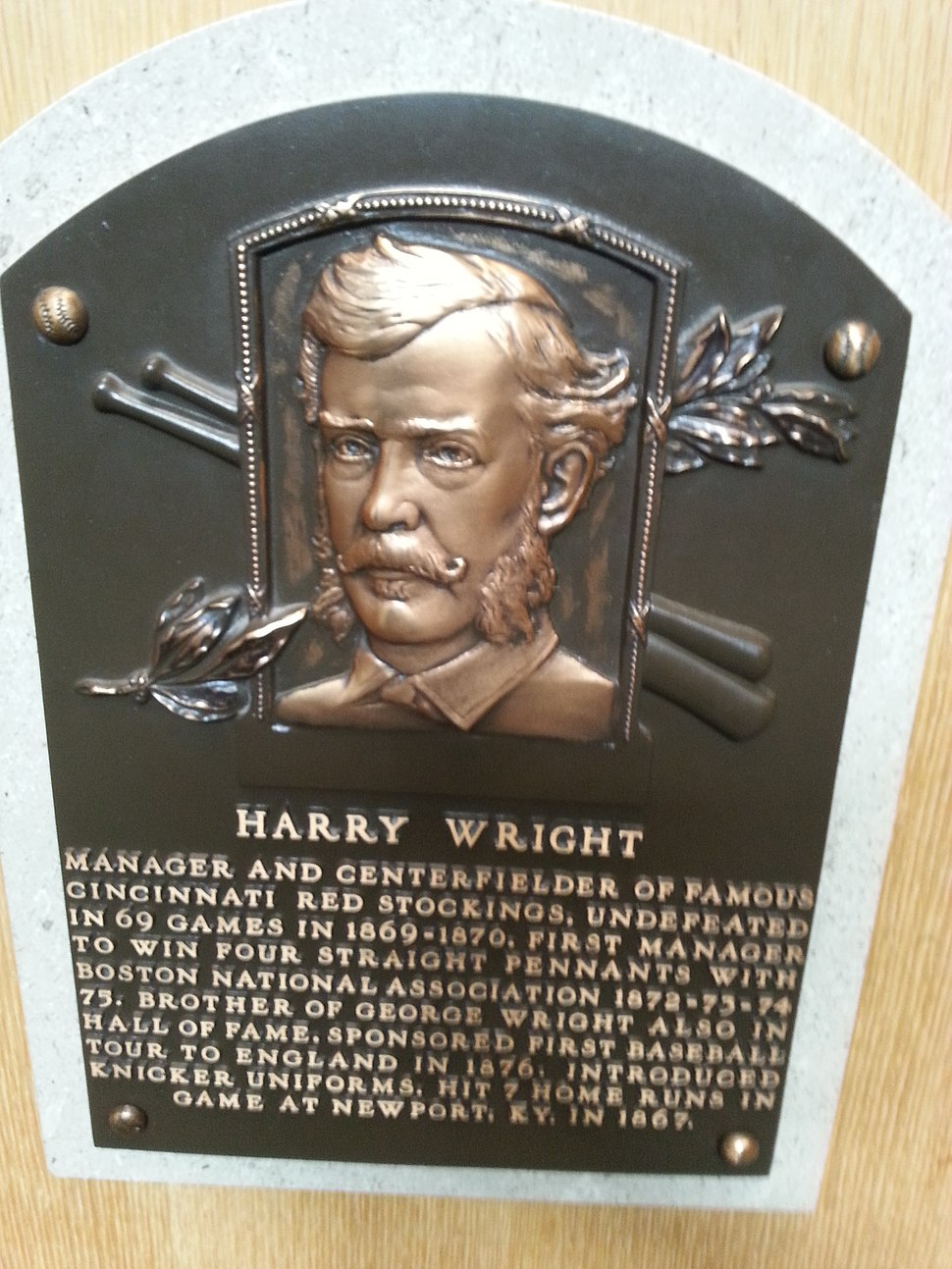 Harry Wright plaque HOF