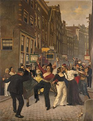 Hartjesdag - Painting by Johan Braakensiek (1858-1940) of Hartjesdag, from the collection of the Amsterdam Museum.