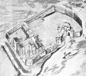 Harzburg - 1574 drawing of the castle. Key: A = entrance, B = sharp angle, C = chapel, E = residence, F = outer ward, G = house on the Harnisch Chamber, H = old powder tower, I, K, L = walls, M = old brewery, N = offices, P = old kitchen, Q = Krodo Holl, R = moat